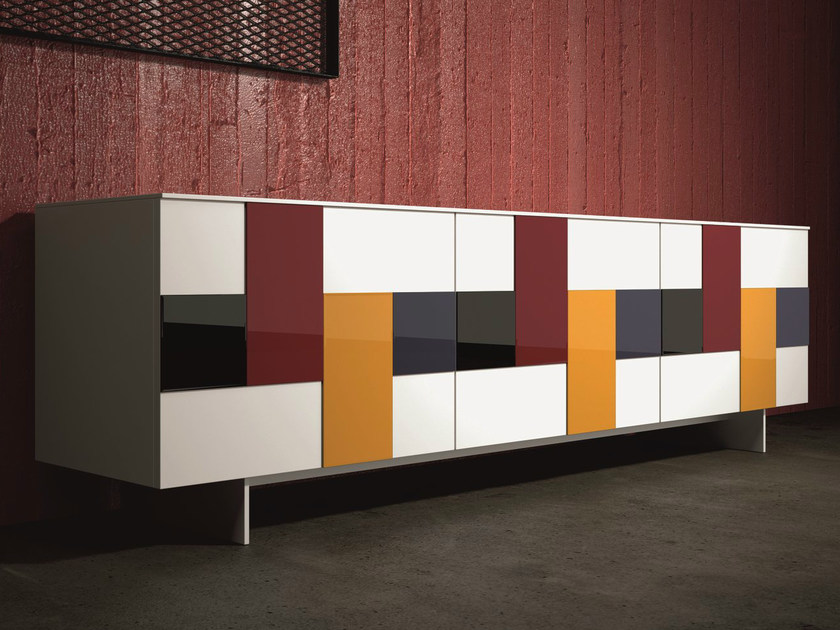 Lacquered stained glass sideboard with doors GLASS | Stained glass sideboard - Dall'Agnese