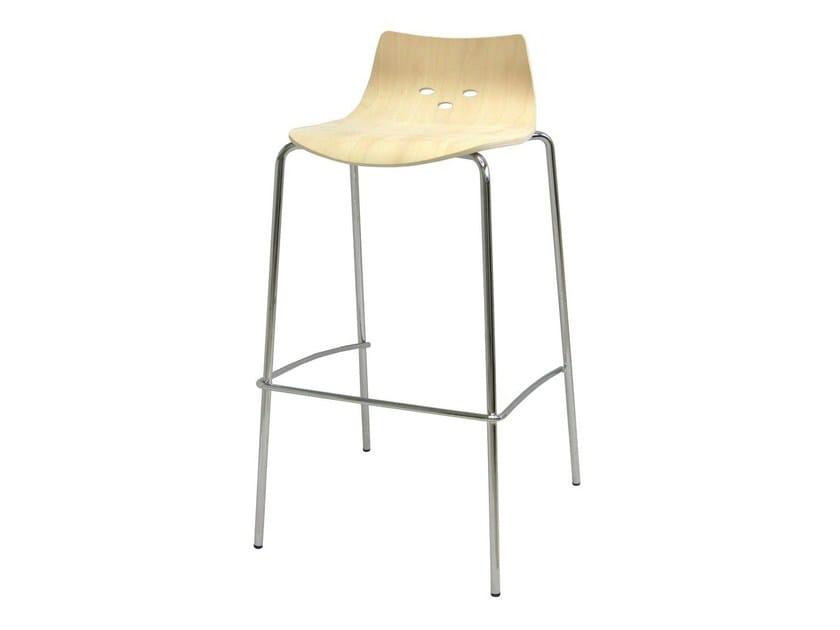 High wooden barstool with footrest SGAB-PRINCE-V | Wooden stool - Vela Arredamenti