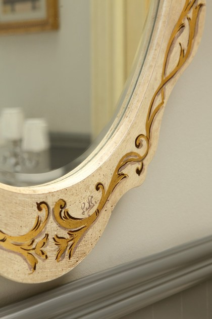 Mobile lavabo in legno con ante narciso decorato legnobagno - Legnobagno prezzi ...
