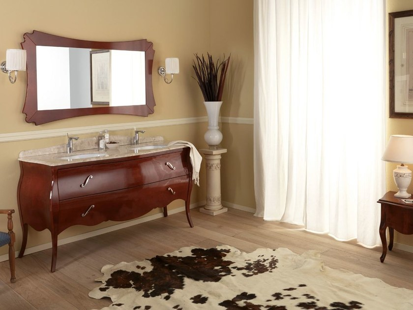Lacquered vanity unit with drawers VANITY DUETTO 02 by LEGNOBAGNO