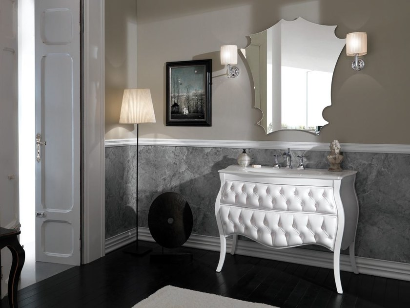 Tufted vanity unit with drawers VANITY CAPITONNE' by LEGNOBAGNO