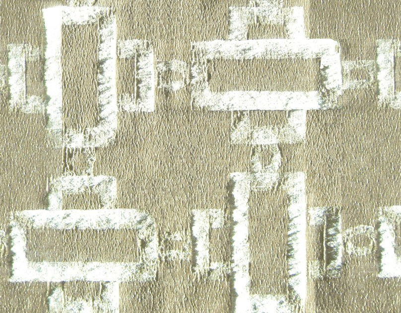 Cotton fabric with graphic pattern CHAINS AND BARK - KOHRO
