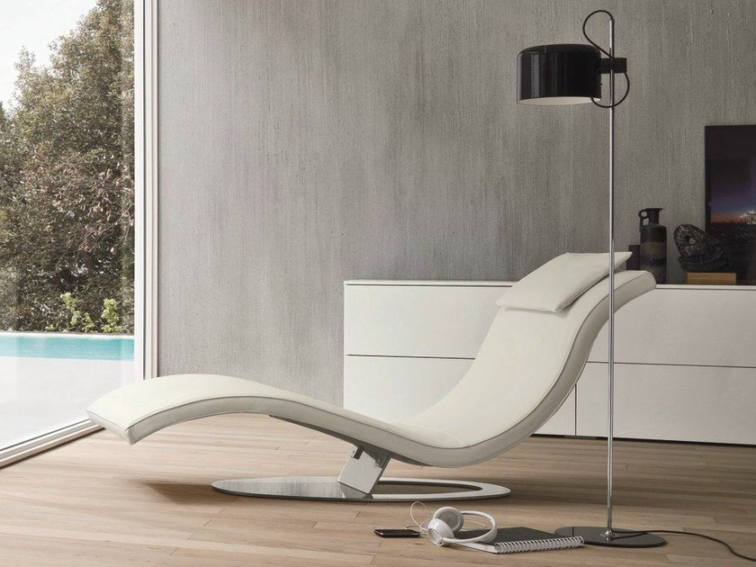 Chaise longue rembourr e en cuir art by dall agnese design for Chaise longue interiores