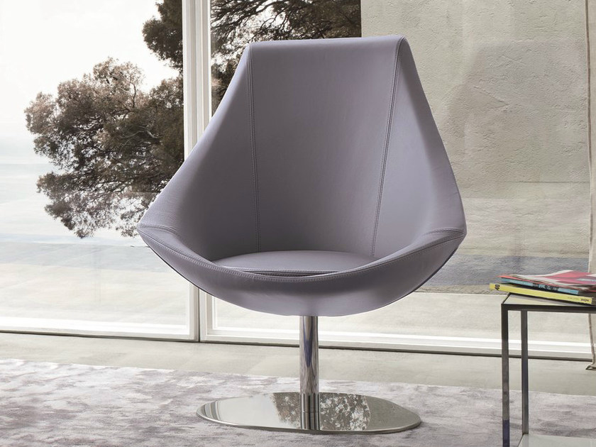Swivel leather easy chair with removable cover KELLY - Dall'Agnese