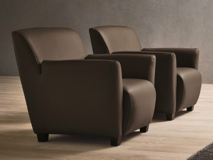 Leather armchair with armrests ETICA by Dall'Agnese