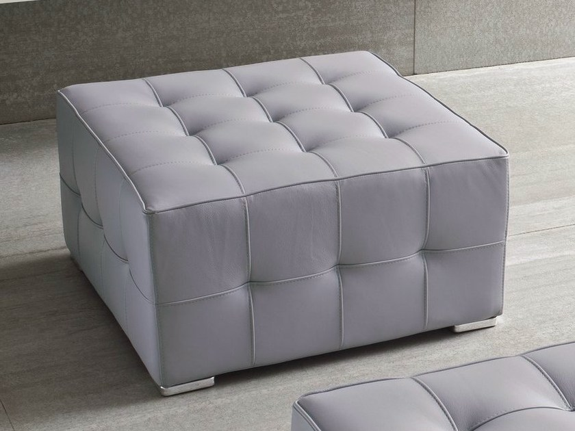 Tufted upholstered leather pouf DRY - Dall'Agnese