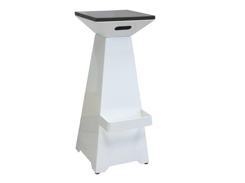 Iron barstool with footrest SGAB-BELLAGIO-L-RAL-W | Iron stool - Vela Arredamenti