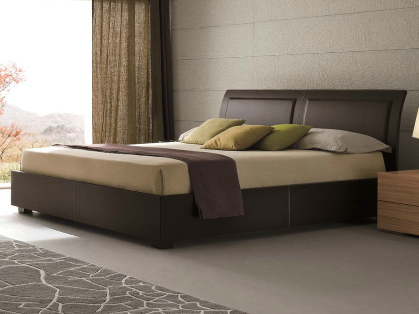 Tanned leather double bed MEMORY | Tanned leather bed - Dall'Agnese
