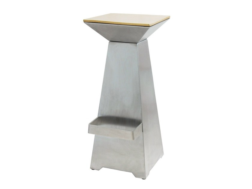 Stainless steel barstool with footrest SGAB-BELLAGIO-L-X-W | Stainless steel stool - Vela Arredamenti