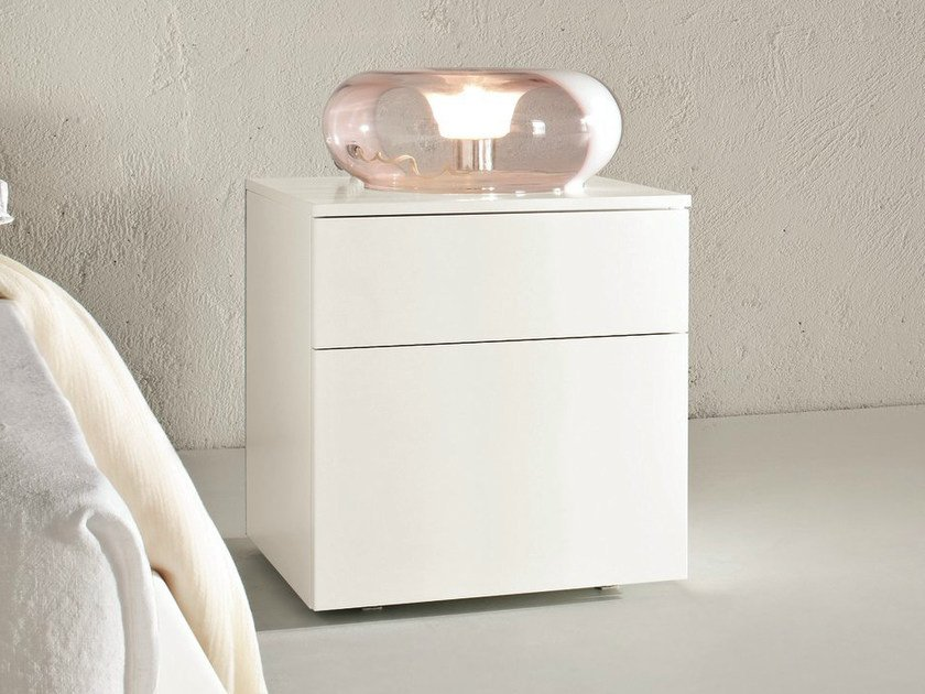 Lacquered bedside table with drawers SLIM | Bedside table - Dall'Agnese