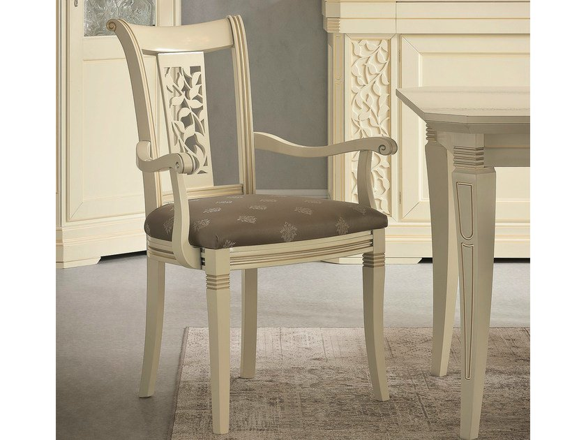 Upholstered lacquered chair with armrests TIFFANY   Chair with armrests - Dall'Agnese