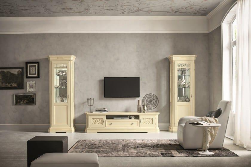 Parete attrezzata componibile laccata con porta tv tiffany parete attrezzata laccata dall agnese - Dall agnese mobili classici ...