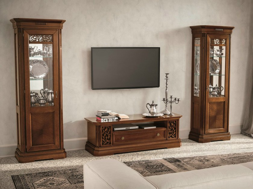 Sectional walnut TV wall system TIFFANY | Walnut storage wall by Dall'Agnese