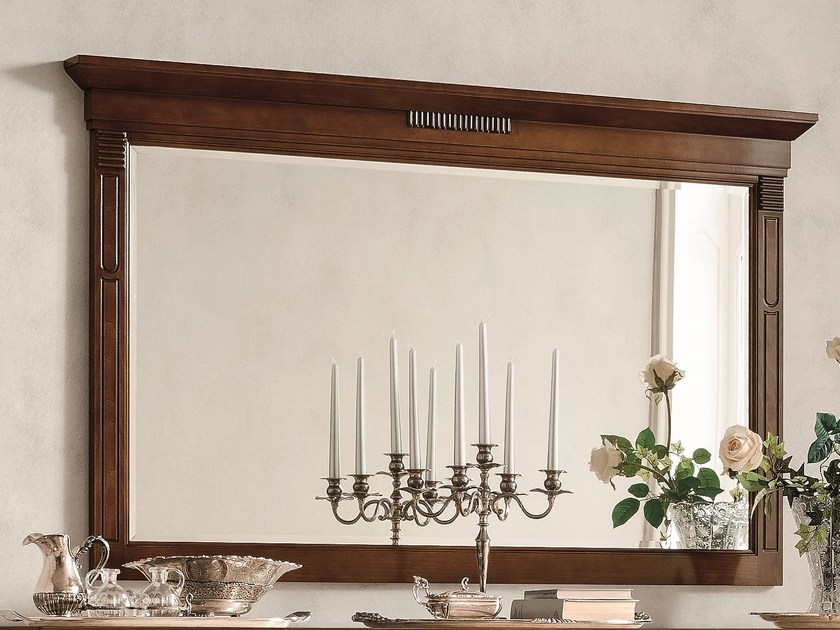 Wall-mounted framed walnut mirror TIFFANY | Walnut mirror - Dall'Agnese