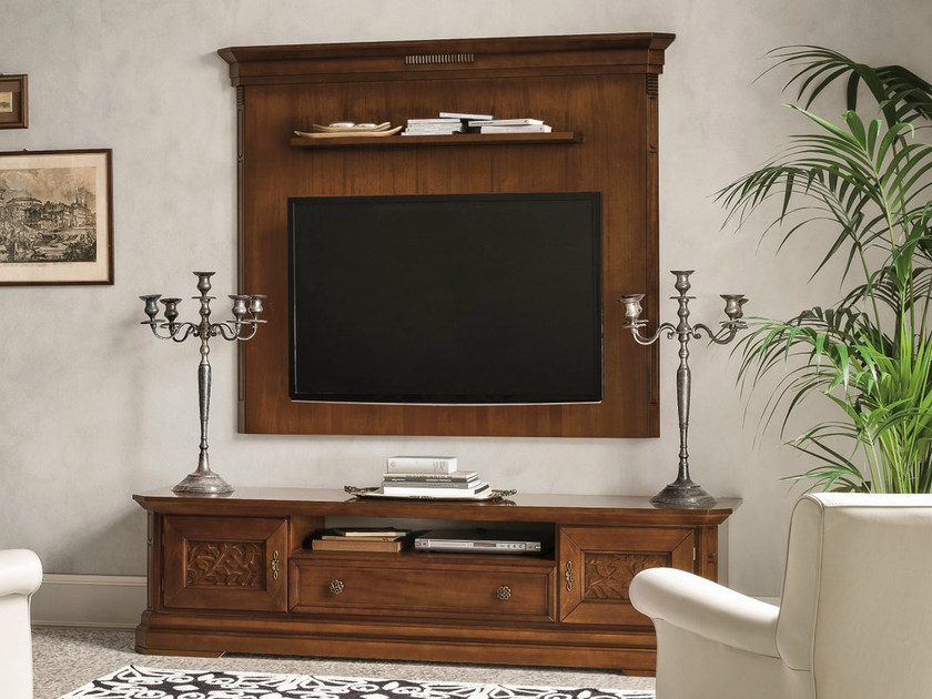 Low walnut TV cabinet TIFFANY | Walnut TV cabinet - Dall'Agnese