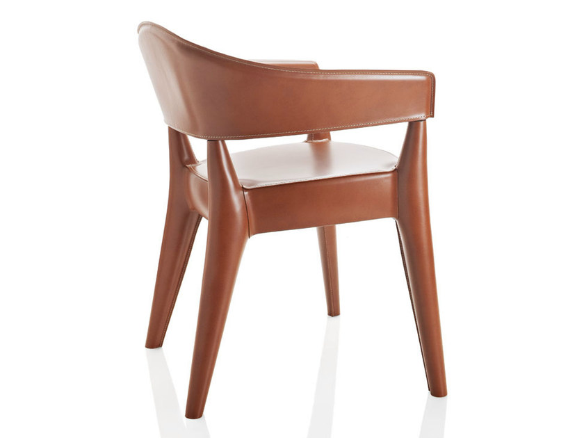 Tanned leather chair with armrests JO - CUOIETTO - ALMA DESIGN