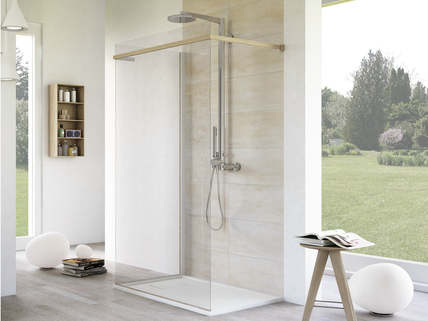 Rectangular glass shower cabin with tray MATERIA PELLE - MEGIUS
