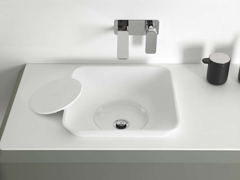 Square Cristalplant® washbasin FLUENT | Semi-inset washbasin - INBANI
