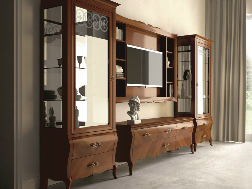 Sectional lacquered walnut storage wall SYMFONIA | Walnut storage wall by Dall'Agnese