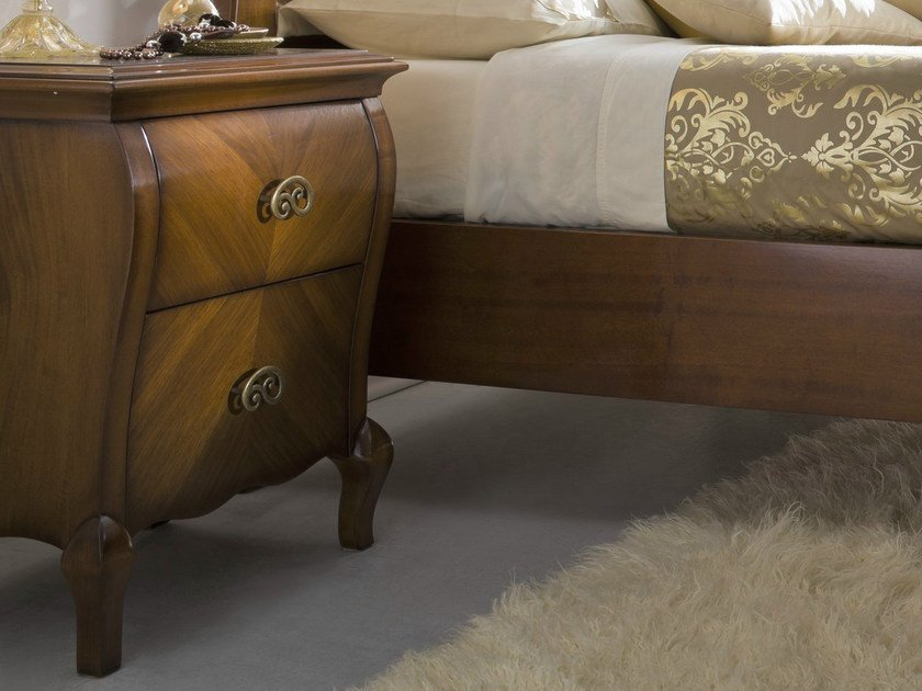 Walnut bedside table with drawers SYMFONIA | Walnut bedside table - Dall'Agnese