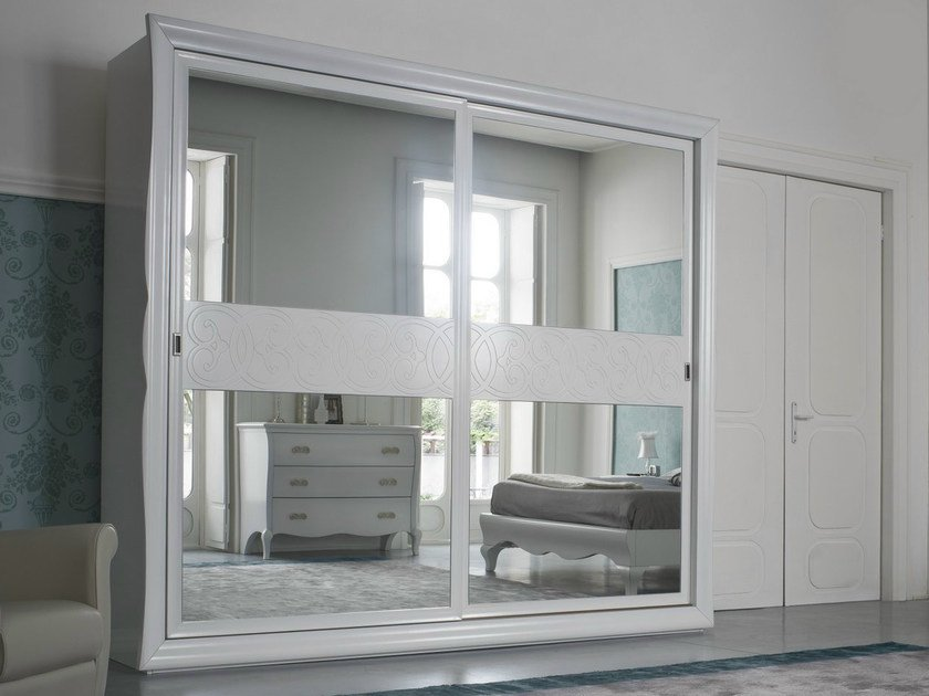 Lacquered mirrored wardrobe with sliding doors SYMFONIA | Lacquered wardrobe - Dall'Agnese