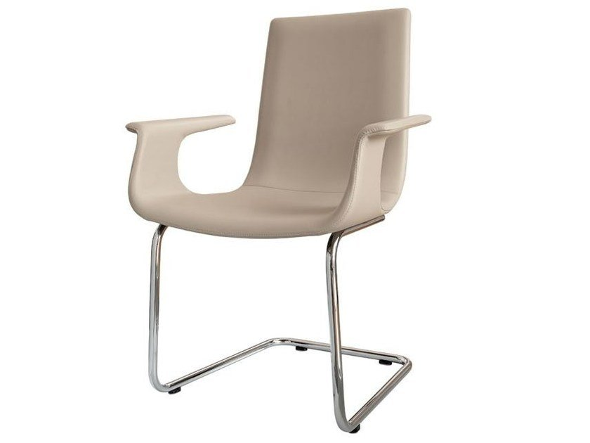 Cantilever leather chair with armrests D27 | Cantilever chair with armrests - Hülsta-Werke Hüls