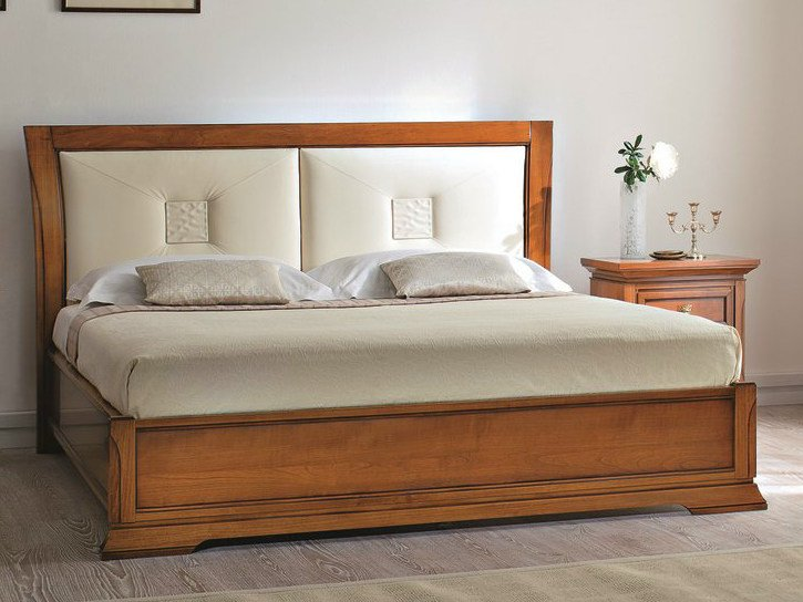 Cherry wood storage bed with upholstered headboard BOHEMIA | Bed with upholstered headboard - Dall'Agnese