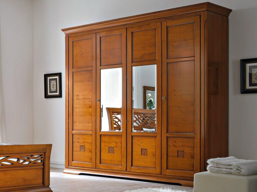 Mirrored cherry wood wardrobe BOHEMIA | Mirrored wardrobe - Dall'Agnese