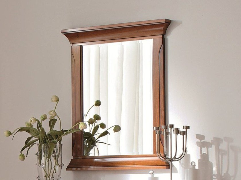Wall-mounted framed cherry wood mirror BOHEMIA | Wall-mounted mirror by Dall'Agnese