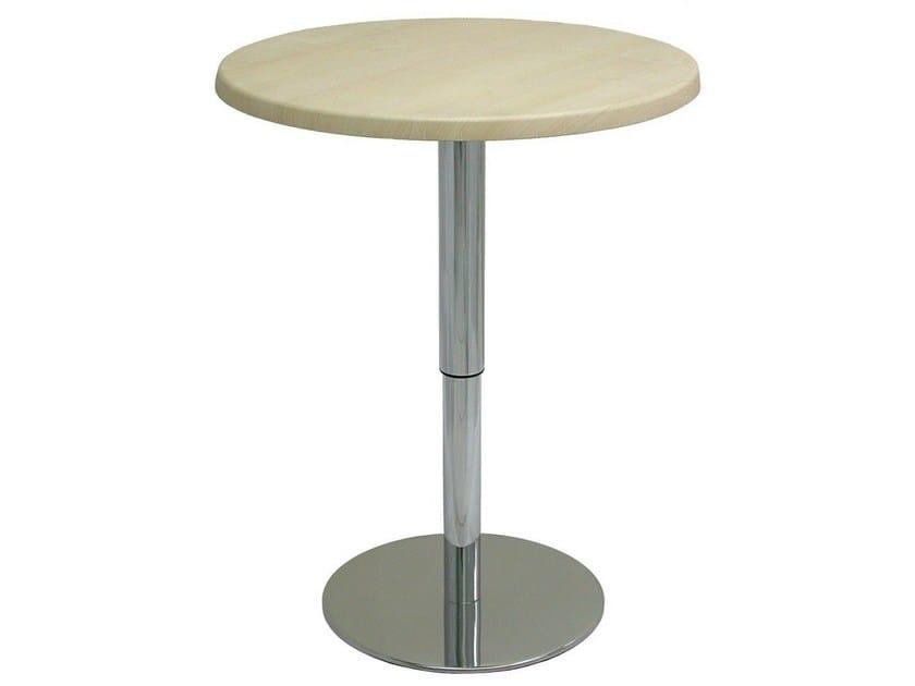 Height-adjustable round stainless steel table SLIM-40-INOX-TEL - Vela Arredamenti
