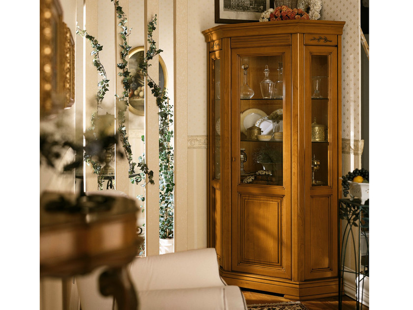 Cherry wood corner display cabinet CHOPIN | Corner display cabinet - Dall'Agnese