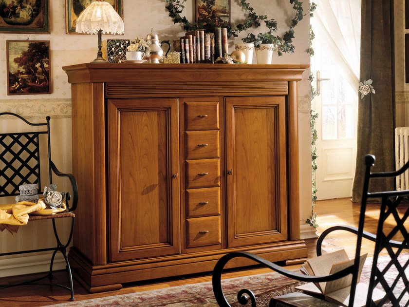 Cherry wood highboard with drawers CHOPIN | Highboard with drawers - Dall'Agnese