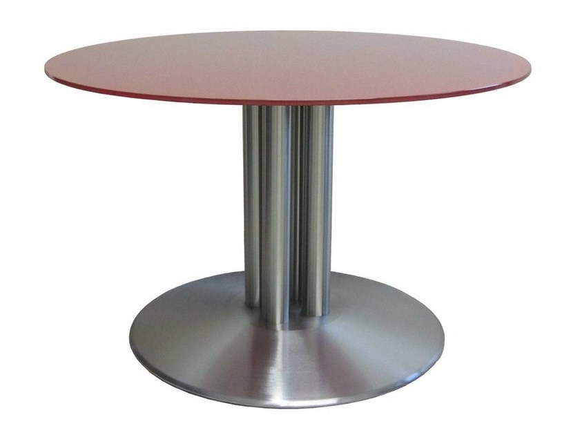 Round stainless steel contract table BALIS-85-4-cover - Vela Arredamenti