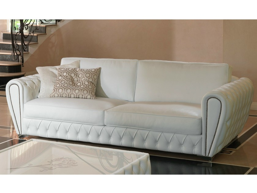Tufted leather sofa NOBILITY - Formenti