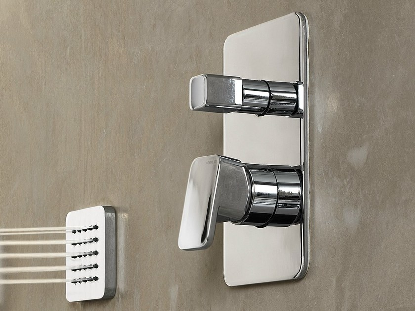 Chrome-plated single handle shower mixer with plate LOOP | Shower mixer - Carlo Nobili Rubinetterie