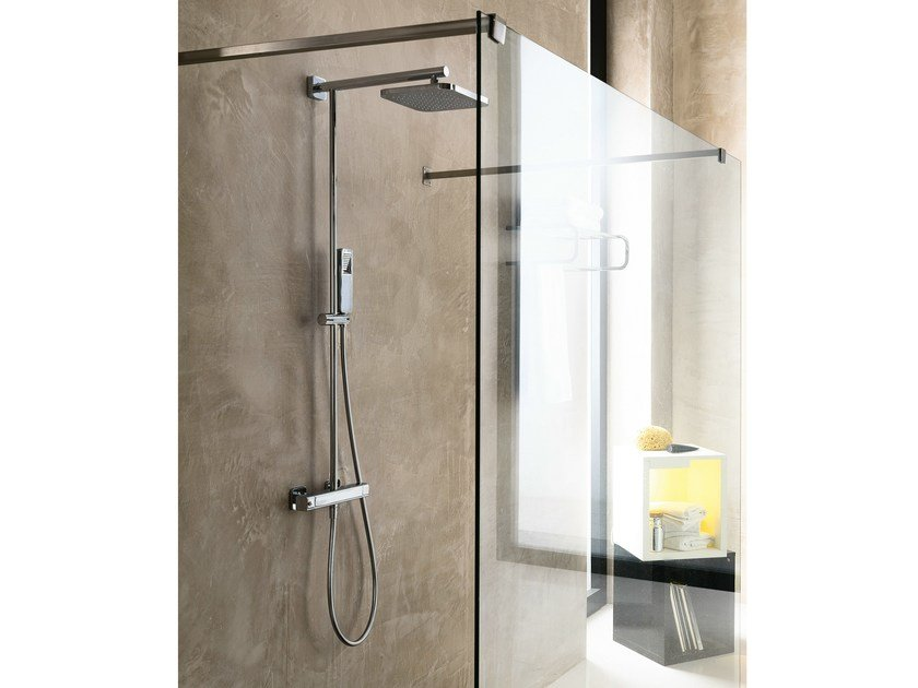 Wall-mounted shower panel with hand shower with overhead shower LOOP | Shower panel - Carlo Nobili Rubinetterie