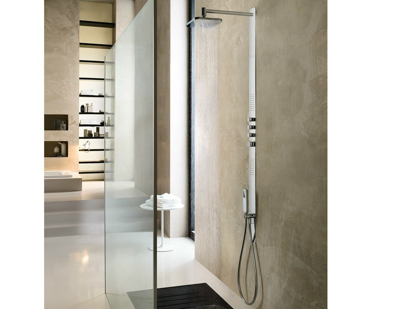 Thermostatic shower panel with hand shower with overhead shower LOOP | Shower panel with overhead shower by Nobili Rubinetterie