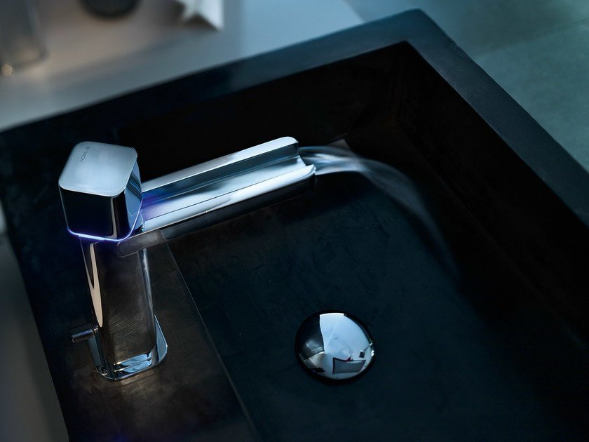 Chrome-plated electronic washbasin mixer LOOP E | Washbasin mixer by Nobili Rubinetterie