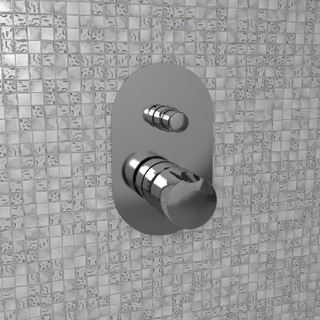 Chrome-plated single handle metal shower mixer with diverter FOLD | Shower mixer with diverter - CERAMICA FLAMINIA