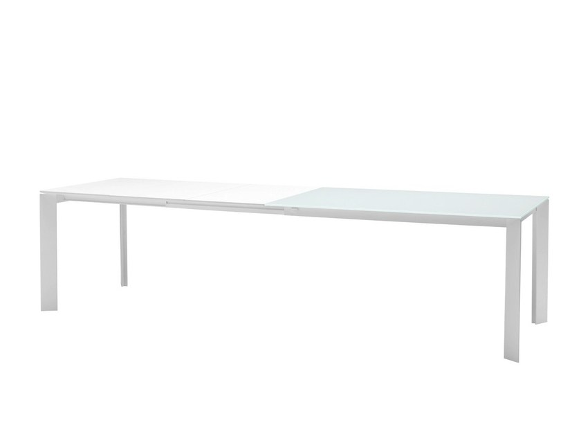 Extending rectangular glass and steel table GHEDI | Extending table - Midj