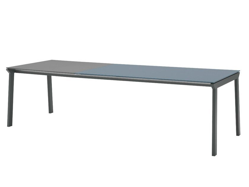 Extending rectangular glass and steel table GRECO | Extending table - Midj