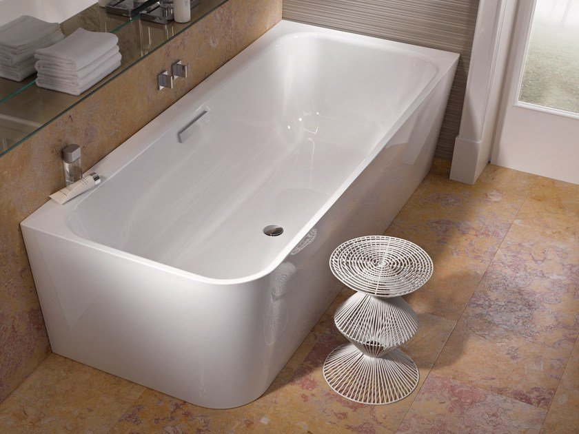 Corner enamelled steel bathtub BETTEART V - Bette