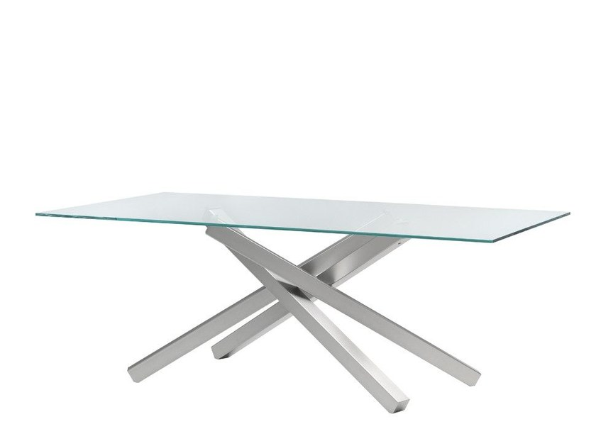 Rectangular table PECHINO | Glass and steel table - Midj