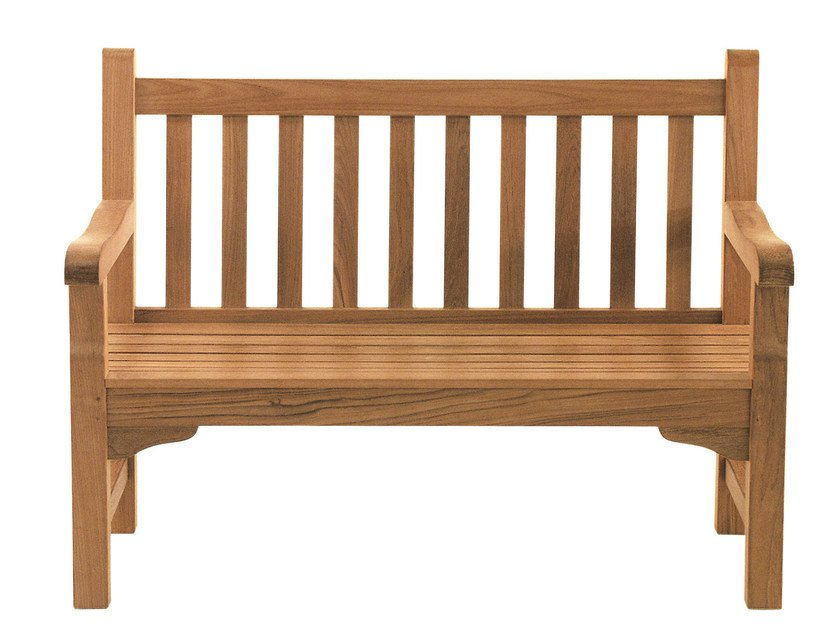 Teak garden bench with armrests GLENWOOD | Garden bench - Tectona