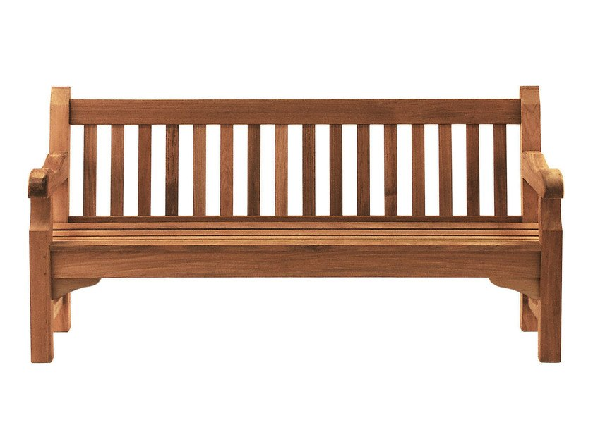 Teak garden bench with armrests EXBURY - Tectona