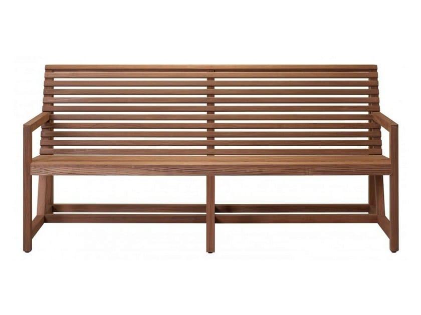 Teak garden bench with armrests GRANVILLE by Tectona