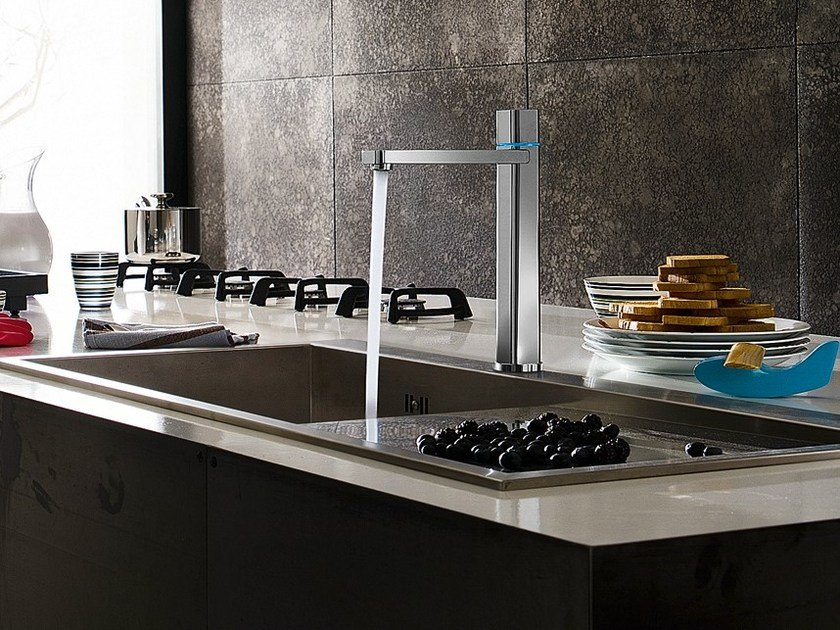 Chrome-plated electronic 1 hole kitchen mixer tap LOOP E | Kitchen mixer tap - Carlo Nobili Rubinetterie