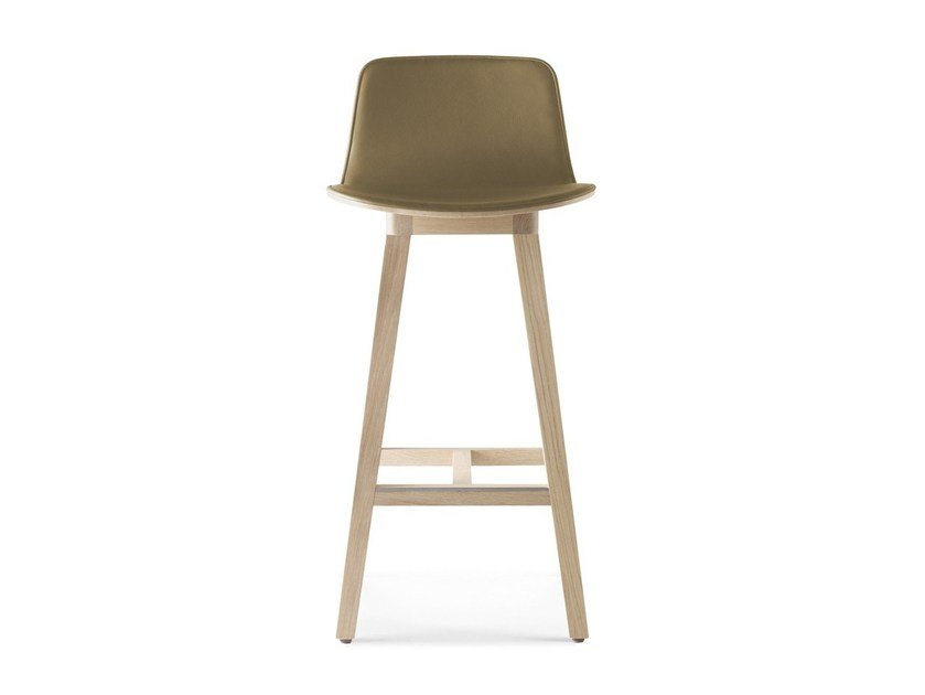 Tanned leather counter stool with footrest KUSKOA | Counter stool - ALKI