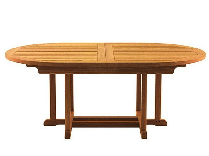 Extending oval teak garden table STERLING - Tectona