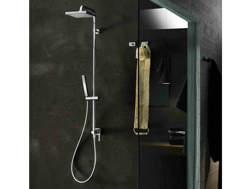 Wall-mounted shower panel with overhead shower CUBE | Shower panel - Carlo Nobili Rubinetterie